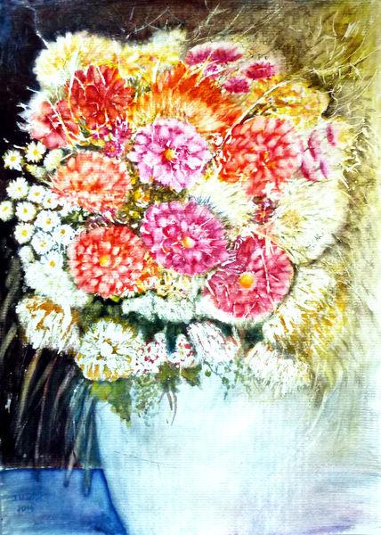 Aquarellmalerei, Blumenstrauß, Stillleben, Blumenmalerei, Aquarell