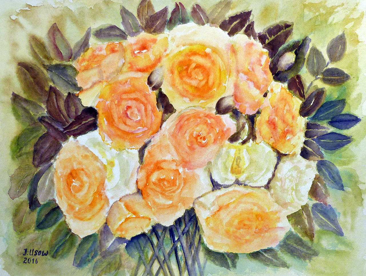 rosenstrau aquarellmalerei stillleben rosenstrau rose von irina usova bei kunstnet. Black Bedroom Furniture Sets. Home Design Ideas