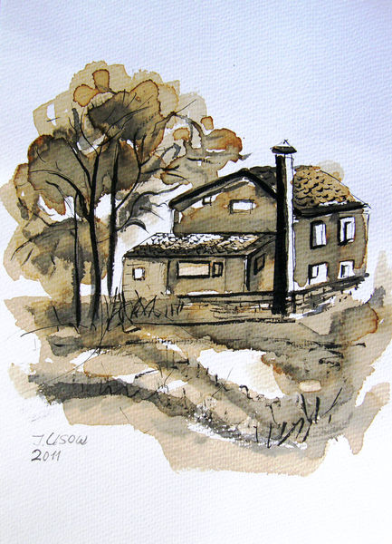 Natur, Architektur, Landschaft, Zeichnung, Zeichnungen, Haus