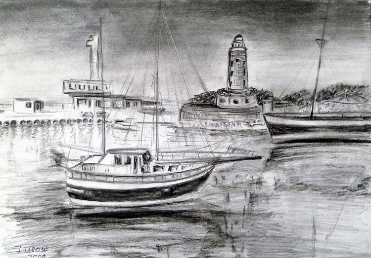 Landschaft, Boot, Architektur, Kolberg, Zeichnung, Zeichnungen