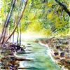 Aquarellmalerei, Wasser, Baum, Stein