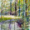 Aquarellmalerei, Spreewald, Natur, Wasser