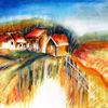 Dorf, Landschaft, Häuser, Natur