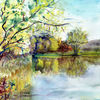 Aquarellmalerei, Baum, Landschaft, Frühling