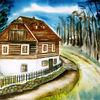Landschaft, Natur, Haus, Aquarellmalerei
