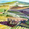 Toskana, Aquarellmalerei, Ladschaften, Natur