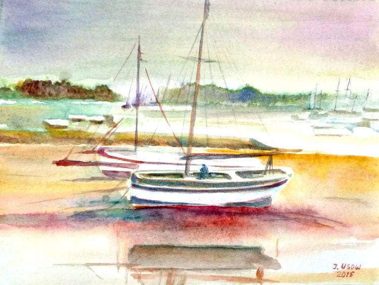 Landschaft, Natur, Boot, See, Aquarellmalerei, Aquarell