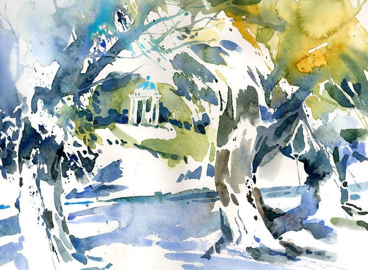 München, Monopteros, Aquarellmalerei, Englischer garten, Aquarell, Garten