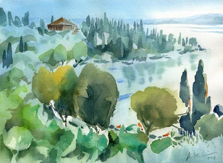 Punta san vigilio, Gardasee, Lago di garda, Aquarellmalerei, Italien, Aquarell
