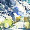 Englischer garten, Aquarellmalerei, Münchner, Monopteros