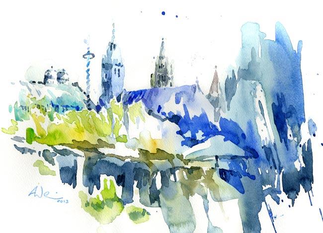 München, Aquarellmalerei, Viktualienmarkt, Aquarell,