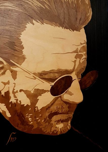 Portrait, Veener, Furnier, Marketerie, Holz, Kunsthandwerk