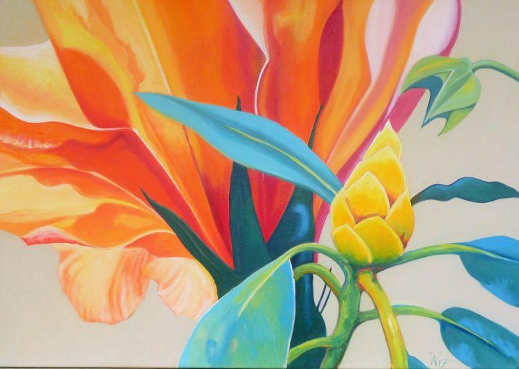 Blüte, Orange, Grün, Malerei