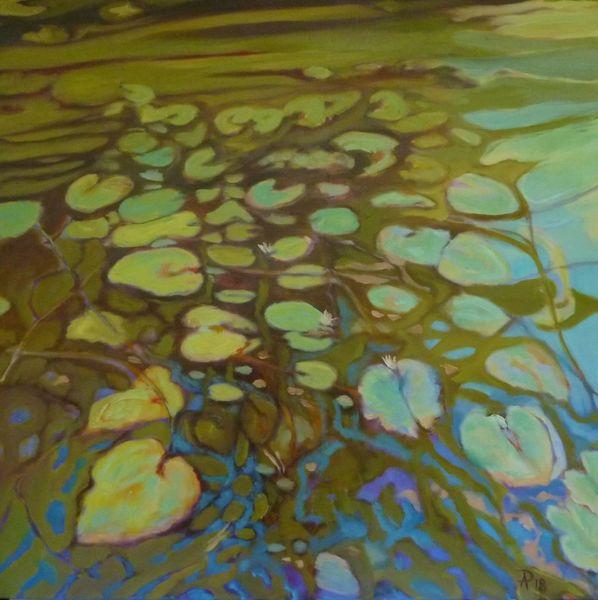 Hellblau, Grün, Seerosen, Pflanzen, Teich, Wasser