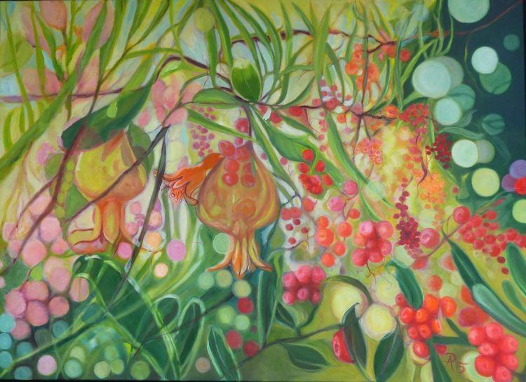 Gelb, Rot, Pflanzen, Wilde beeren, Grün, Malerei