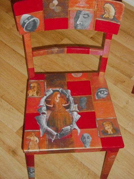 Romantik bemalte stühle, Möbelmalerei, Frau, Collage, Malerei, Rahmen