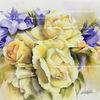 Rose, Glockenblumen, Blumen, Aquarell