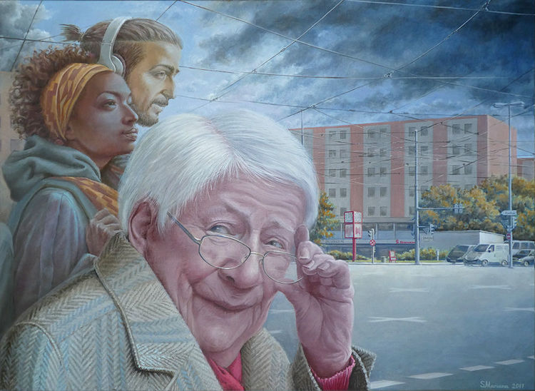 Technik, Portrait, Realismus, Geselschaft, Malerei, Ölmalerei