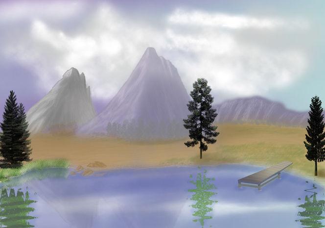 Stein, Landschaft, Baum, Teich, Felsen, Berge