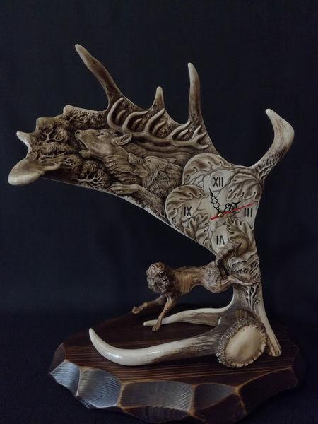 Mantle, Rotwild, Uhr, Geweih, Tierwelt, Schnitzkunst