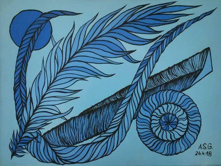 Stein, Nacht, Blautöne, Malerei, Feder, Schlängeln