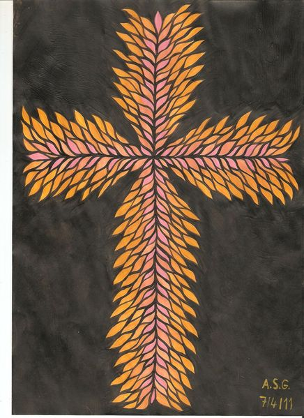 Flammenkreuz, Kreuz, Kreuzlich, Dispersion, Temperamalerei, Orange