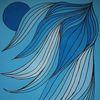 Platsch, Blautöne, Malerei, Nacht