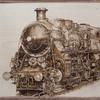 Malerei, Nostalgie, Holz, Pyrografie