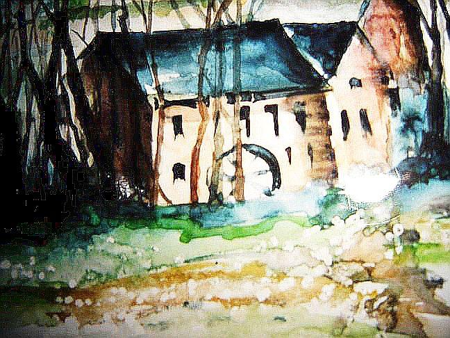 Aquarell, Landschaft, Mühle