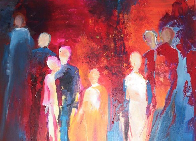 Acrylmalerei, Modern, Menschen, Partei, Rot, Blau