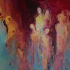 Acrylmalerei, Familie, Rot, Menschen