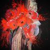 Acrylmalerei, Rot, Blumen, Malerei