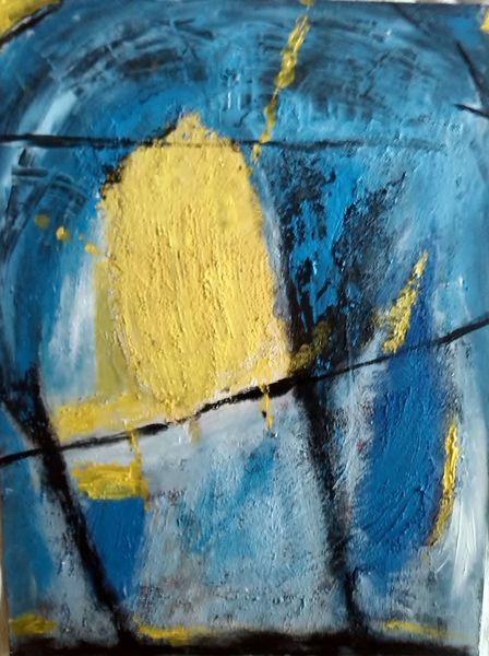 Gelb, Abstrakt, Blau, Malerei