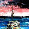 Ölfarben, Fischerboot, Spachtel, Technik
