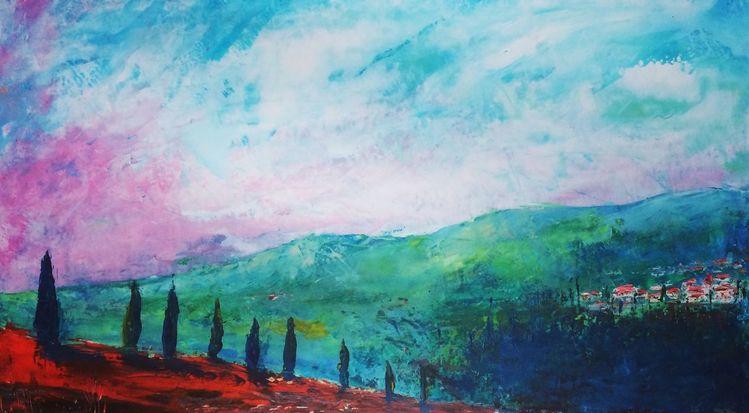 Toskana, Spachteltechnik, Ölmalerei, Malerei, Öl gemälde
