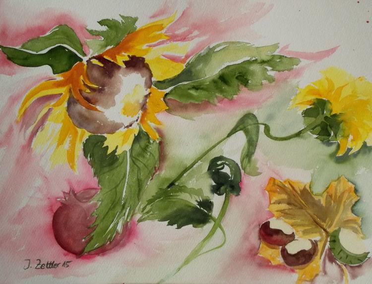 Herbstfest, Sonnenblumen, Blätter, Blumen, Herbst, Aquarell