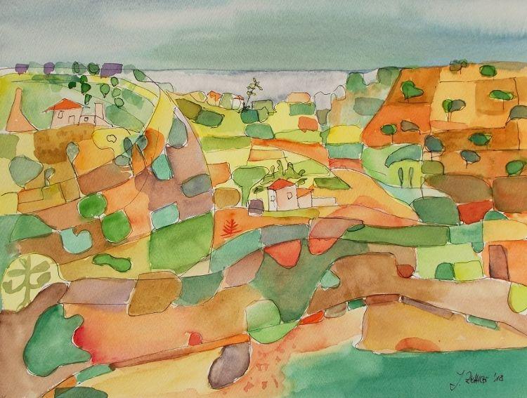 Abstrakt, Abstrakte kunst, Abstrakte landschaft, Mediterrane landschaft, Komposition, Aquarell