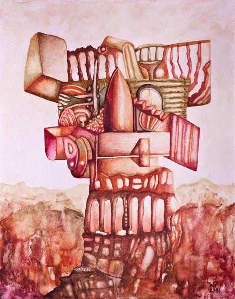 Wachturm, Abstraktes aquarell, Surreal, Landschaft, Aquarell, Turm