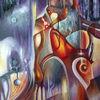 Violett, Krypta, Ölfarben, Malerei
