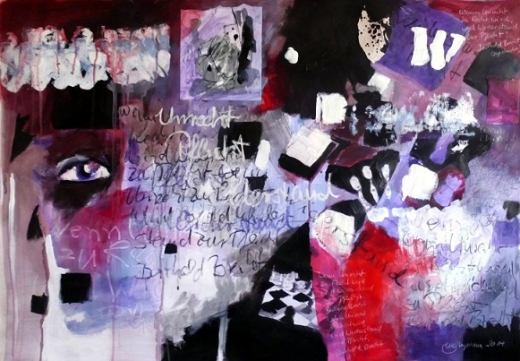Violett, Zitat, Unrecht, Recht, Brechen, Acrylmischtechnik