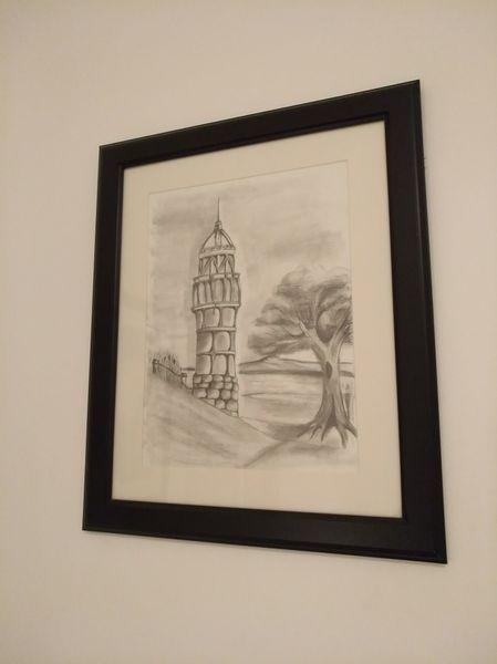 Bleistiftzeichnung, Aussichtsturm, Landschaft, Wasser, Zeichnungen