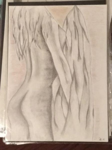 Akt, Junge schönheit, Rücken, Zeichnungen