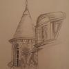 Alt, Schloss, Bleistiftzeichnung, Turm