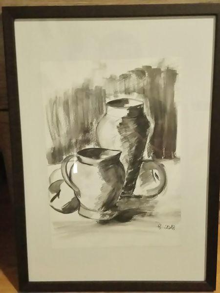 Tonkrüge, Stillleben, Schwarz weiß, Zeichnungen, Ton