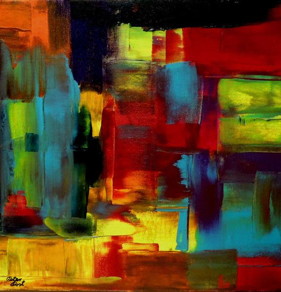 Abstrakte kunst, Rakeltechnik, Acrylmalerei, Malerei