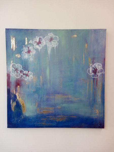 Goldschimmer, Blumen, Abstrakt, Rettungsschutzdecke, Blau, Malerei