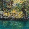 Blätter, See, Baum, Malerei