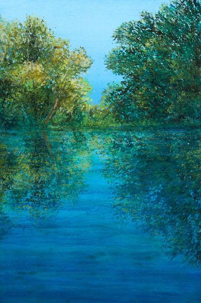 See, Wasser, Spiegelung, Malerei