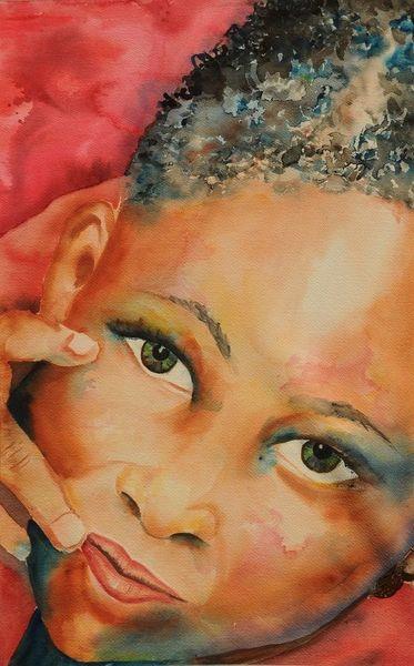 Aquarellmalerei, Portrait, Menschen, Afrika, Aquarell