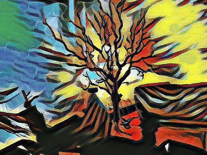 Digitale kunst, Herbst, Baum,